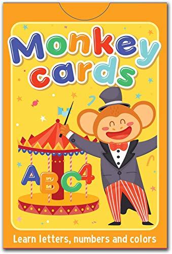 Status Fortis Monkey Cards Lernkarten für Kleinkinder mit Farben, Wörter, Zahlen, Buchstaben ABC Flash Card Set (deutsche Sprache)