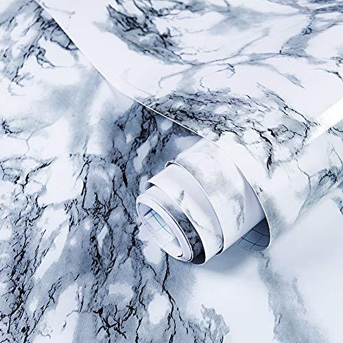 GLOBALDREAM Papel Adhesivo Marmol, 40cm x 10m Papel Marmol Negro Pegatina Muebles de Cocina Vinilo Decoracion Papel Marmol Papel para la Cocina Encimera Oficina de Baño