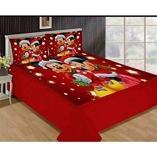 """Ram Products Super Soft & Warm Touch Digital Print Velvet Printed Bedsheet for King Size Double Bed with 2 Pillow Covers - Size 90"""" x 90"""""""