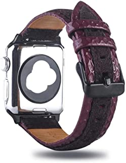 QINZIXIA AU High-end leather strap suitable wrist strap spell color leather applewatch