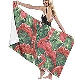 Toalla De Playa, Manta De Playa De Gran Tamaño con Flamencos Tropicales para Adultos Y Niños, Súper Suave Y Absorbente Rápido