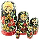 Azhna 5 piezas de recuerdo Matryoshka Home Decor Collection estilo clásico muñeca rusa pintada a mano muñeca apilable de madera de 15 cm (verde)