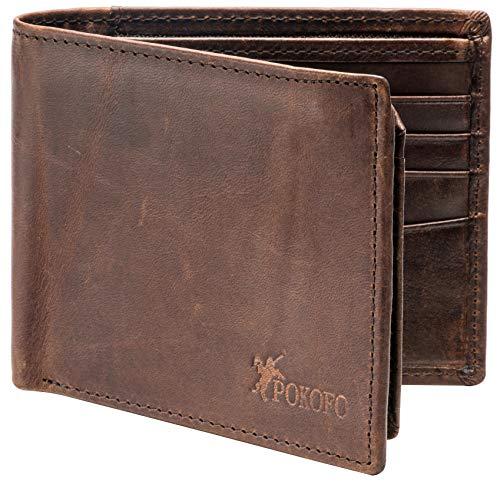RFID Blocking Genuine Leather Bifold Wallet for Men with Zipper and 2 ID Windows (Dark brown)