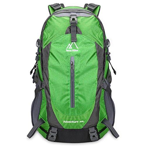 Terra Hiker Zaino Escursionismo Unisex con Parte Esterna Rimovibile, Zaino da Trekking per l'Arrampicata, il Campeggio, le Escursioni in Montagna 40L (verde)