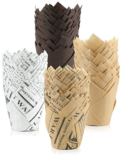 200 Pieces Tulip Cupcake Muffin Liners - 2 Inch Standard Paper Baking Cups Muffin Cases Greaseproof Cupcake Wrappers, Brown, Nature & White
