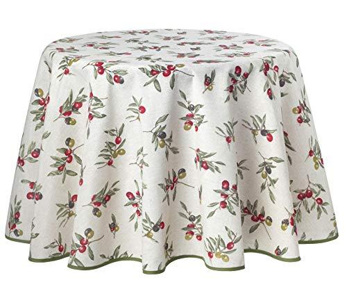 Provence-Tischdecke, Natur Oliven, pflegeleicht, Tischdecke, ca. 180cm, zeitlich begrenzt gratis mit Mitteldecke