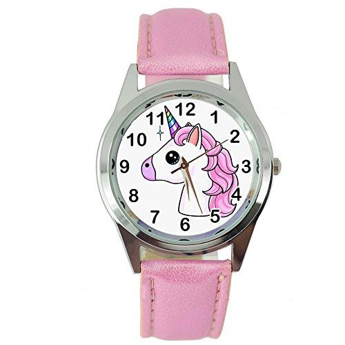 TAPORT® dames horloge analoog kwartsuurwerk met leer eenhoorn E3 Roze Rond