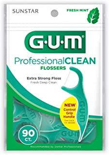 GUM Professional Clean Flossers Fresh Mint - 90 ct, Pack of 4