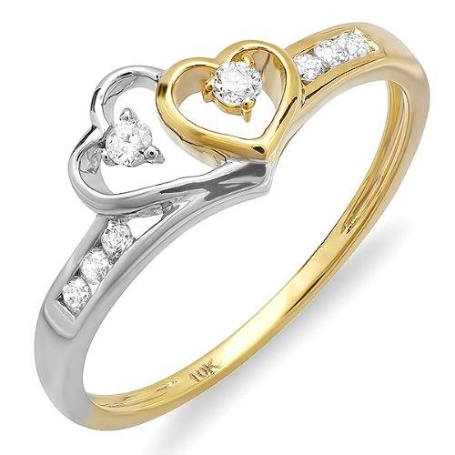 DazzlingRock Anillo de compromiso de oro blanco de 10 quilates con diamante redondo para mujer, dos tonos de doble corazón (0,15 quilates, color G-H, claridad Si-I)