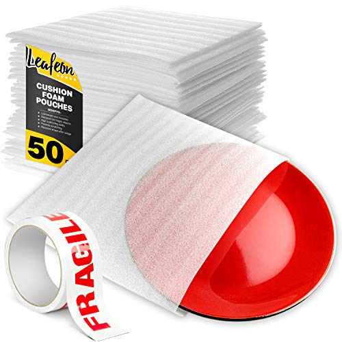 """12"""" x 12"""" Foam Wrap Pouches for Packing Shipping and Moving Supplies – Foam Pouches are Great Alternative to Bubble Cushioning Wrap Moving Paper & Bubble Envelopes – Good with Moving Boxes – 50 Pack"""