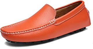 Shoes Comfortable Leather Sets of Feet Shoes Shoes Mens Casual Peas Shoes Fashion (Color : Orange, Size : 42)