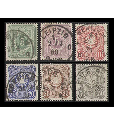 Goldhahn Deutsches Reich Nr. 31-36 gestempelt Ziffer/Reichsadler Pfennige Briefmarken für Sammler