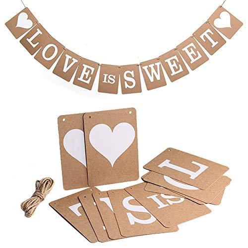 Bazgo Banderas de papel kraft para San Valentín para fiesta de novia con el amor dulce, bandera rústica de lona para boda
