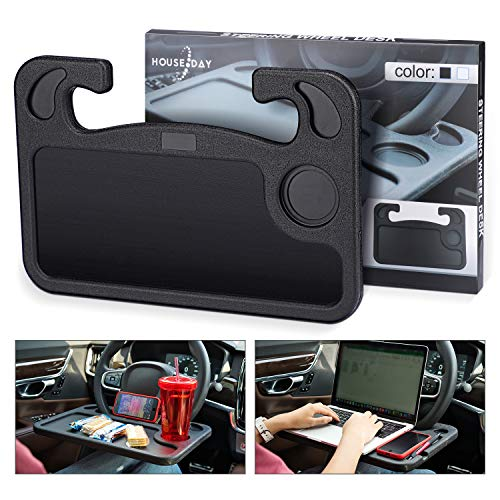 Portable Car Steering Wheel Desk Table Steering Wheel Tray Eating Laptop Stand Table Holder Fits Most Vehicles Steering Wheels for Travels (Black)