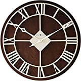 "Howard Miller Prichard Wall Clock 625-496 – 15"" Round Espresso Finish & Nickel Metal Frame Home Decor with Quartz Movement"