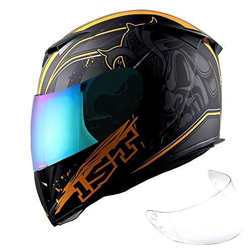 1Storm Motorcycle Full Face Helmet Skull King Matt Orange+ One Extra Clear Shield, Size Medium (55-56 cm,21.7/22.0 Inch)