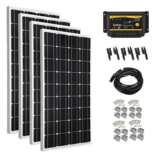 Giosolar Solarmodul-Set 400 W (4 x 100 W) Off-Gitter Solarsystem Kit Akku Ladegerät monokristalline Panel LED Controller komplett