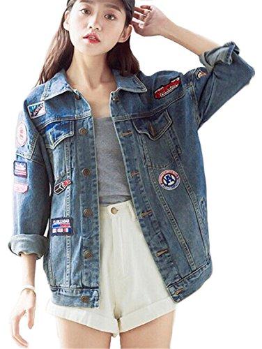 Minetom Mujer Otoño Bordado Distintivo Mezclilla Chaqueta De Los Pantalones Vaqueros Suelto Abrigo Azul ES 40