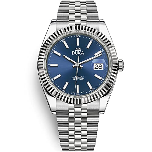DUKA Acero inoxidable Hombres Relojes Automáticos Moda Jubilee Starp Impermeable 100 M Hombres Relojes de Pulsera Mecánica Japón NH35A Movimiento 40mm Hombres de Negocios Relojes, azul,