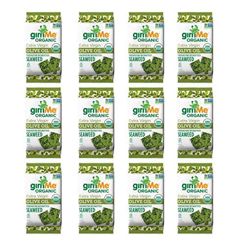gimMe Organic Roasted Seaweed Sheets - Extra Virgin Olive Oil - 12 Count - Keto, Vegan, Gluten Free - Great Source of Iodine and Omega 3's - Healthy On-The-Go Snack for Kids & Adults