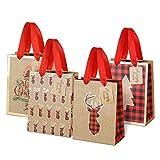LIHAO 12 Stück Geschenktüten Weihnachten Präsenttüten mit Griff Kraftpapier Papiertüten Weihnachtstüten für Geschenkverpackung Party Geschenktaschen