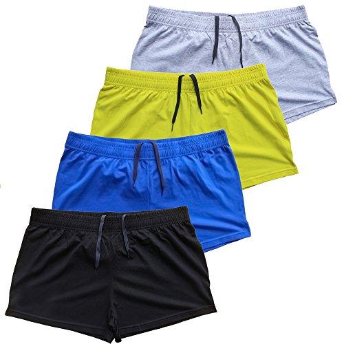 palglg Mens Bodybuilding Shorts 3 Inch Inseam Drawstring Closure Cotton PLN Black+Blue+Grey+Yellow M