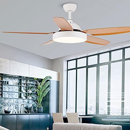LANMOU 132cm/52inch Ventilador de Techo con Luz, LED Luz de Techo Ventilador Silencioso Moderna con Mando a Distancia Araña Luz del Ventilador de Techo para Salón Dormitorio Comedor,Blanco