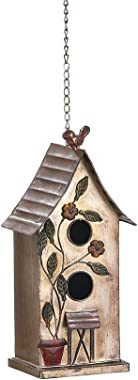 "Brogan 15"" H Distressed Metal Birdhouses for Outdoors Hanging, Bird House Decorative for Garden Yard Other Outside Space, Dou"