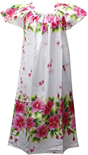 沖縄生まれのムームードレス、フレンチスリーブでゆったり着れます!白地にピンクのハイビスカスfr-06