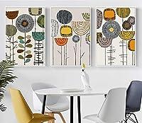 ポスターとプリント壁画アートキャンバスクリエイティブ抽象フラワーペインティングリビングルーム(ウォールアート)装飾絵画(70x90cm)3pcsフレームレス