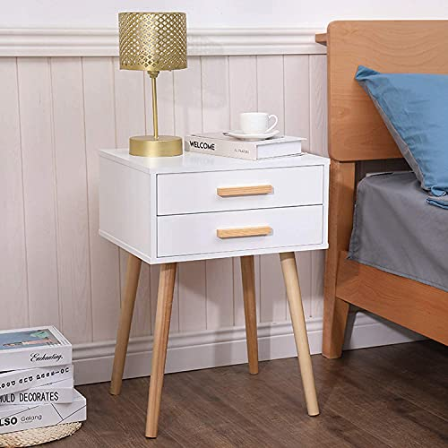 White Nightstand Set of 2 with 2 Drawers for Bedroom Solid Wood, Mid Century Bedside Table for Living Room, Modern Night Stand with 4 Wooden Legs, 17.7L x 13.8W x 24.8H