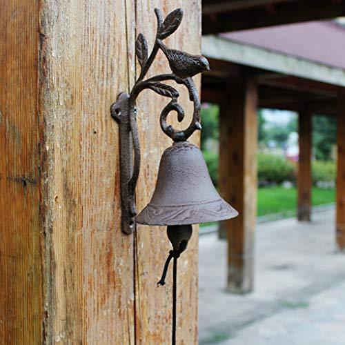XXHDEE gietijzeren deurbel retro handbel persoonlijke smeedijzeren tuin muur decoratie deurbel mooie wandbehang decoratie 12,5 x 9,8 x 23,5 cm gietijzer deurbel