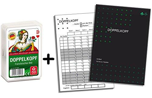 Doppelkopfblock, Doppelkopf Spieleblock und Kartendeck, 2er Set Weiss, Gesellschaftsspiel Geschenkset für Doppelkopfrunde