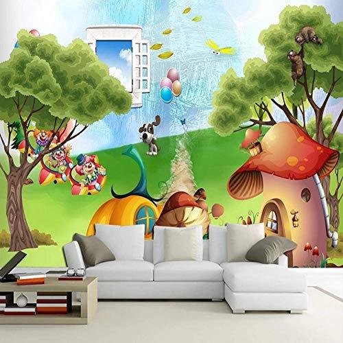 Grande murale 3D Wallpaper Heaven Fantasy Cartoon Mushroom House Camera da letto del bambino Murale TV Decorazione della parete posteriore in profondità
