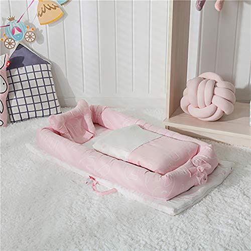 wieg met hek bionische wieg draagbare reizen wieg vouwen babybed anti-druk matras Pink elephant