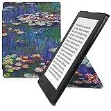 kwmobile Funda Compatible con Kobo Aura H2O Edition 2 - Carcasa magnética de Origami para e-Book - nenúfares Rosa Claro/Verde/Azul