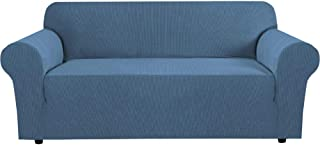 """Best H.VERSAILTEX Stretch Sofa Cover Couch Covers Sofa Covers for 3 Cushion Couch Sofa Protector Cover for Living Room, Small Checks Jacquard Soft Thick, Removable and Washable(72""""-96"""", Dusty Blue) Review"""