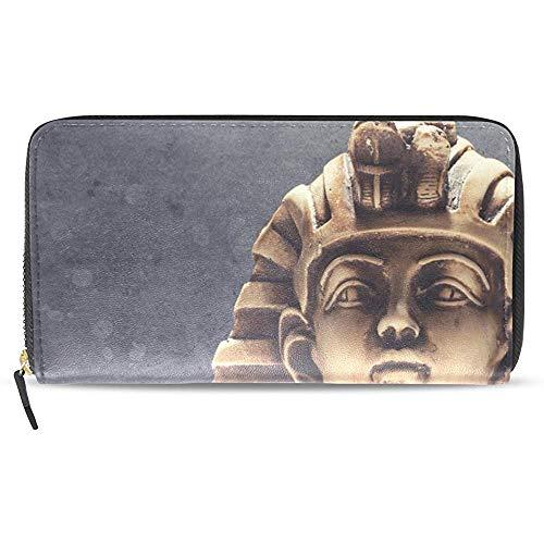 Leder Zip Around Kartenhalter Geldbörse Clutch Bag Womens Stein Pharao Tutanchamun Maske Muster Lange Brieftasche \U0026 Geldbörse Fall Kartenhalter