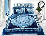 Sleepdown Paisley Mandala Blue Juego edredón y Fundas de Almohada Reversibles, algodón, Azul,...