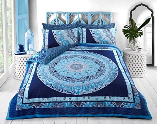 Sleepdown Juego de Funda de edredón Reversible Suave y Sencillo con diseño geométrico Azul de Cachemira con Fundas de Almohada, King (220x230cm)