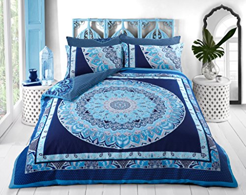 Sleepdown - Funda de edredón y Fundas de Almohada, diseño de Mandala de Cachemira, algodón poliéster, Azul, Matrimonio
