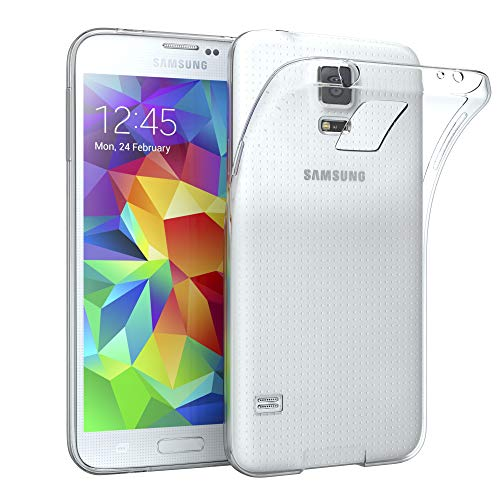 EAZY CASE Hülle kompatibel mit Samsung Galaxy S5 / S5 LTE+ / S5 Duos / S5 Neo Schutzhülle Silikon, Ultra dünn, Slimcover, Handyhülle, Silikonhülle, Backcover, Durchsichtig, Klar Transparent