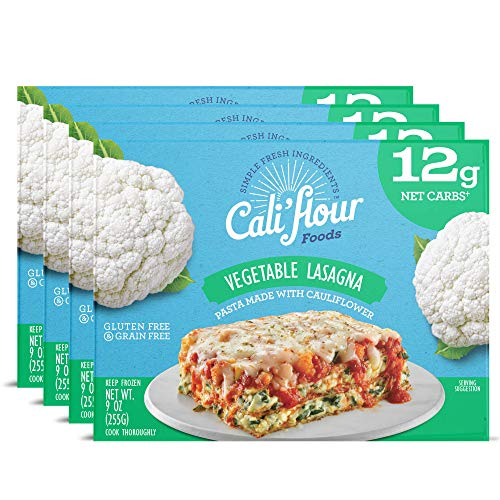Cali'flour Foods Vegetable Lasagna (4-Pack) - Keto Friendly Frozen Meal | Low Carb, Gluten and Grain Free | Fresh Cauliflower Base