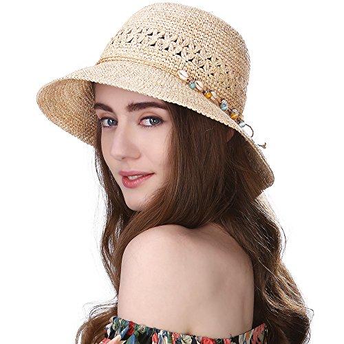Comhats Damen Faltbare Sonnenhüte Strohhüte mit Sonnen Shade 100% Raffia Stroh breite Krempe Beige