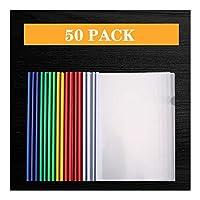 ビジネスクリップボード スライドバー、クリップバープレゼンテーションSlidebinderファイル、レッド/ブルー/グリーン/ホワイト/イエロー60ページ容量をクリア前面レポートカバー付き50のレポートカバー 事務用品 (Color : B)