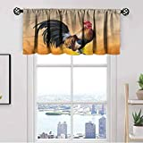 Rooster Window Kitchen Curtain Valance,Farm Animal Sunrise Thermal Insulated Tier Valance Curtain for Bedroom Living Room Kitchen,Rod Pocket,Matching with Curtain Panels,42 x 12 Inch, 1 Panels