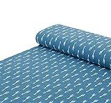 Nadeltraum Baumwoll - Musselin Stoff Giraffe Jeansblau -