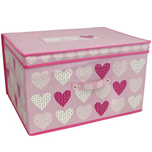 Large Collapsible Jumbo Storage Box Folding Storage Chest Kids Room Tidy Toy Box (Pink Hearts)
