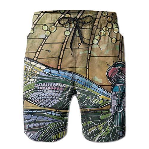 Quick Dry Herren Strandshorts Cartoon Libelle Mesh Futter Surfing Swim Board Trunks mit Taschen, Größe XXL