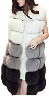Lisa Colly Winter Women's Fur Vest Coat Warm Long Vests Fur Vests Women Faux Fur Vest Coat Outerwear Jacket